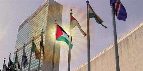 Palestinská vlajka před budovou OSN. Repro Internet