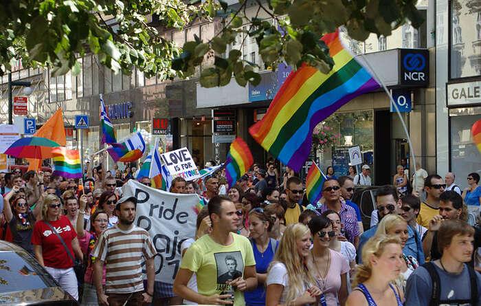 Prague Pride není podle jeho pořadatelů festivalem sexuálních menšin. Jeho agenda jepouze LGBT.Foto Wikimedia Commons