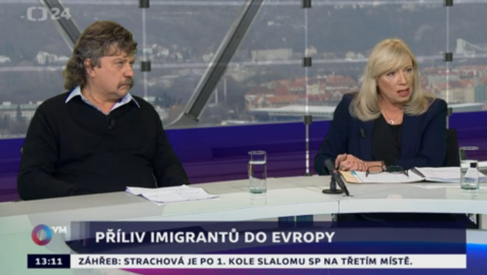 Jan Keller aIveta Radičová vedruhé polovině včerejších Otázek Václava Moravce. Foto repro ČT