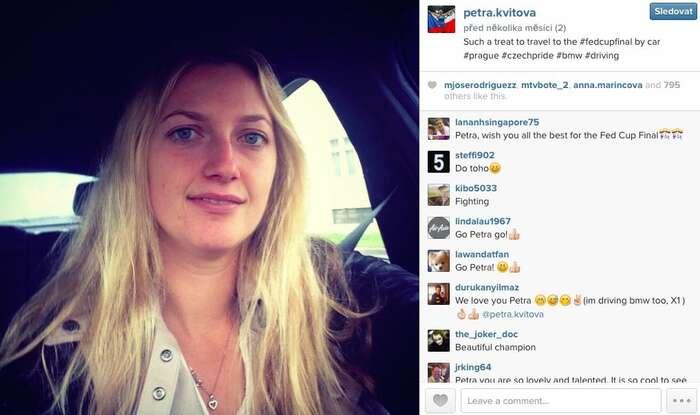 Petra Kvitová si3. 11. nasvém twitterovém profilu pochvaluje, že konečně může jet naturnaj autem. NaFED Cup, který sekonal vPraze. ZMonaka byale autem asi nejela. Zdroj Twitter Petry Kvitové