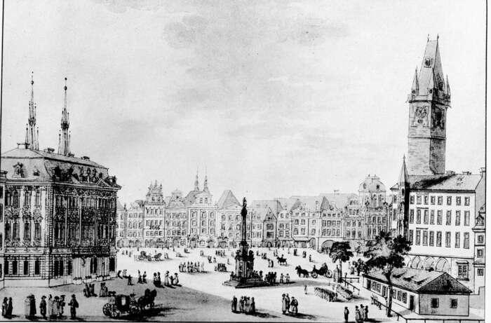 Pražští radní zamítli opravu Mariánského sloupu naStaroměstském náměstí. Sloup tustál odroku 1652 ajeho osudy jsou vpodstatě odzačátku politickým symbolem. Foto cs.wikipedie.org