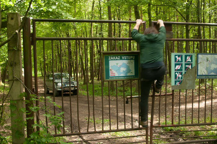 Škodolibý majitel sinatáčí ochránce přírody, kteří přelézají plot. Foto Martin Vyhnal