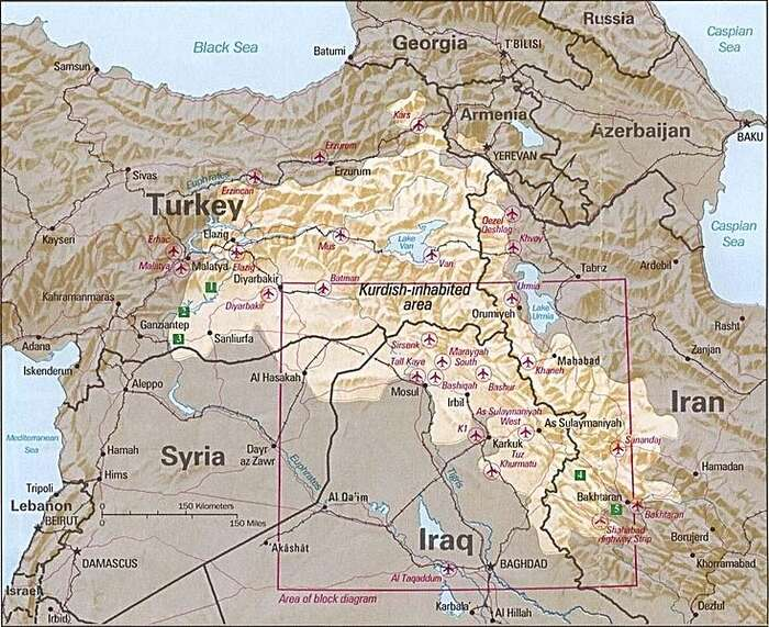 Oblast osídlená Kurdy. Repro DR
