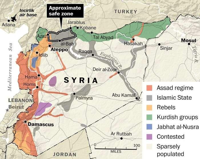 """Současné rozdělení Sýrie mezi jednotlivé strany konfliktu. Zregionu ohraničeného bílými tečkami má být dle americko-turecké úmluvy ISIS vyhnán. Bránit zónu bypotom měla Svobodná syrská armáda (na mapce """"Rebels"""") Repro ISW/WP/Hurriyet"""