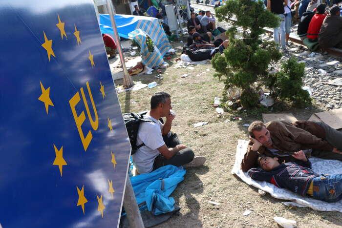 Uprchlíci vchorvatském Tovarniku. Foto Ondřej Mazura, DR
