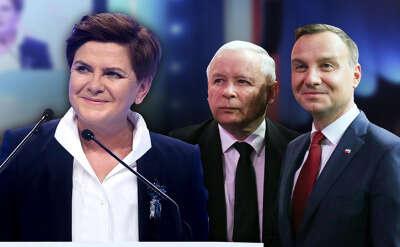 Tři hlavní postavy současné PiS: premiérka Beata Szydłová, předseda strany Jarosław Kaczyński aprezident Andrzej Duda. Repro TVN25/DR
