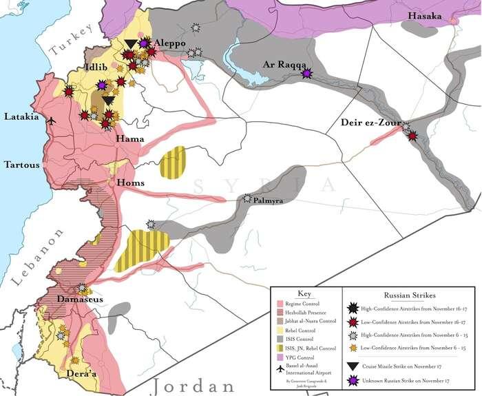 Mapka zachycující cíle ruského bombardování ukazuje současně aktuální rozložení sil: růžovou Asadův tábor, žlutou povstalci, hnědou an-Nusrá, šedou Dáeš afialovou Kurdové.  Repro ISW/WmC/DR