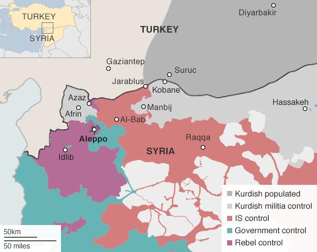 Město Džarábulus leží voblasti kontrolované ISIS. Jen pár kilometrů odněj ale začíná kurdské území. Repro IHS/BBC/DR