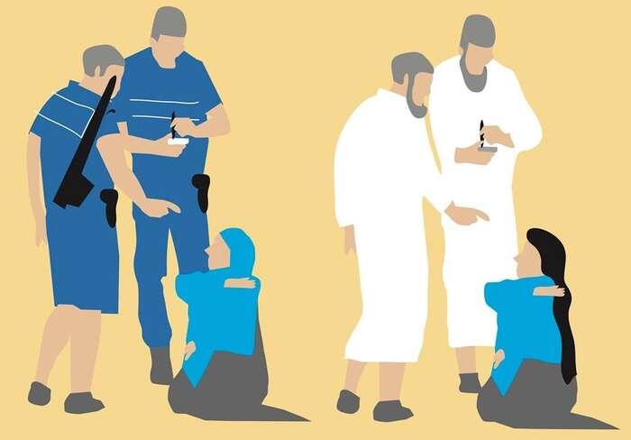 Příkaz ksundání šátku jestejně antiemancipační jako příkaz kjeho oblečení. Vobou případech jesženou zacházeno zpozice autority,  její svobodná vůle jeznásilněna. Ilustrace Khalid Albaih