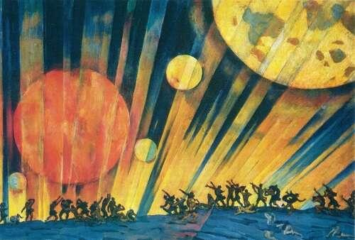 Velkou říjnovou socialistickou revoluci vyobrazoval iavantgardní obraz Nová planeta Konstantina Yuona. Zachycuje hlavní vášeň revoluce: touhu pokolektivní modernitě. Ilustrace Konstantin Yuon