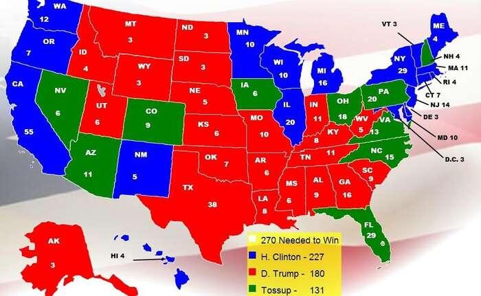 Mapka zletošního června rozlišuje státy sjasnou převahou voličů Trumpa (červená), Clintonové (modrá) astáty, kde jepodpora obou přibližně stejná (zelená). Repro LatAm Times
