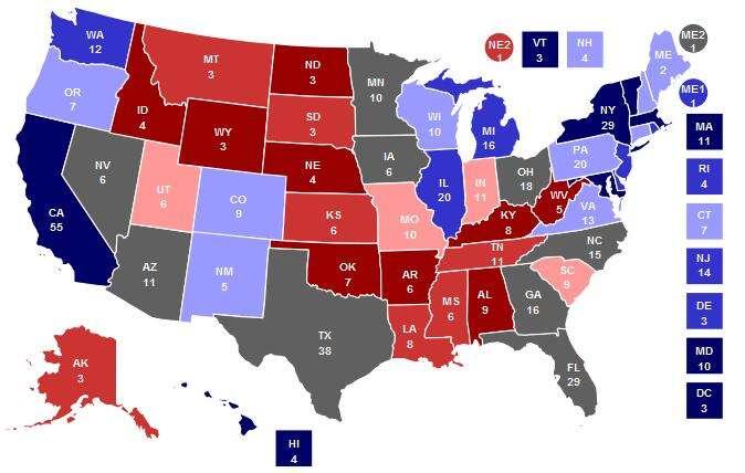 Analytická grafika zkonce října. Bledá barva označuje leaning state, šedá pak toss state. Doočí bije zvláště letošní šeď tradičně republikánského Texasu. Repro RealClearPolitics.com