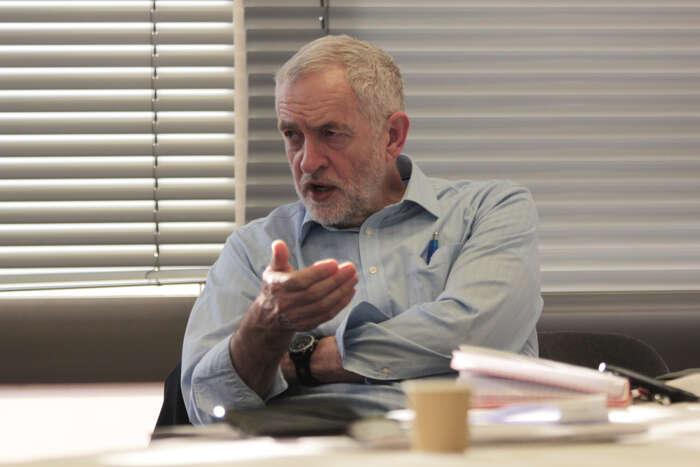 Jeremy Corbyn během interview pro Deník Referendum vroce 2016. Foto Lukáš Senft, DR