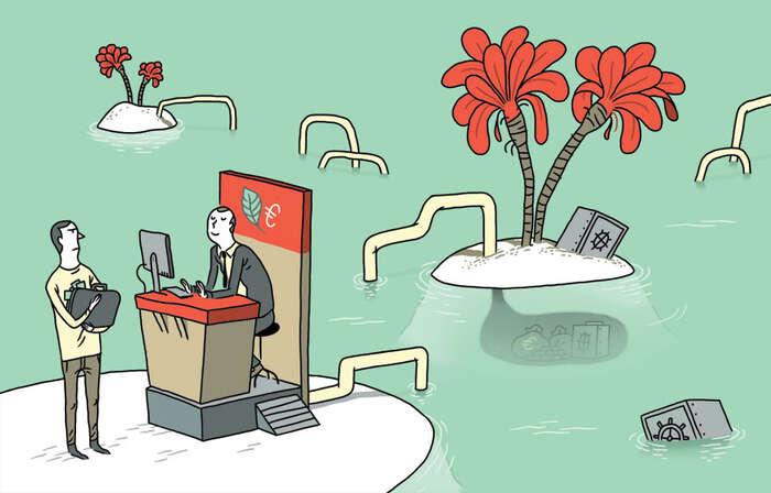 Peníze, které končí naBermudách či Kajmanech avNizozemí, bysprávně měly být vpříjmech státního rozpočtu. Ilustrace bldgwlf.com