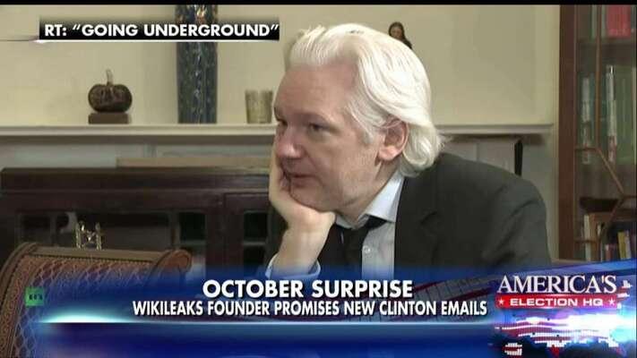 Hlavní postava WikiLeaks Julian Assange tvrdí, že jeho web získal maily zne-ruských zdrojů. Repro zvysílání RT