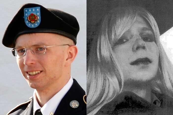 Chelsea Manningová ještě jako Bradley Manning, vpravo pak sdívčí parukou. Repro archiv FoW/WmC/NA, Twiiter