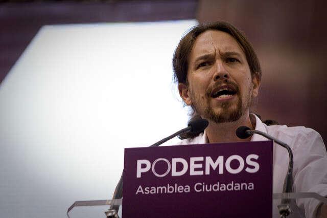 Pablo Iglesias nastranickém sjezdu vroce 2017. Foto Jairo Vargas Martín, flickr.com