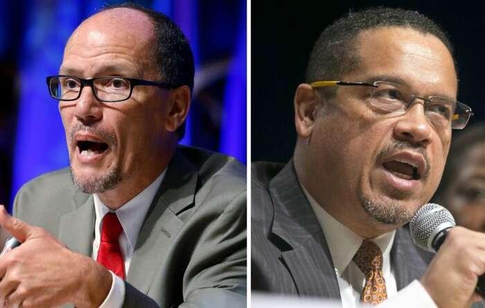 Kandidáti obou křídel napředsedu DNC: Tom Perez (vlevo) aKeith Ellison. Foto archiv RisingUpWithSonali.com