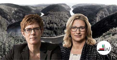 Masmédia volby zarámovala jako napínavý střet mezi dosavadní premiérkou Annegret Krampovou-Karrenbauerovou zCDU  (vlevo) a její vicepremiérkou Anke Rehlingerovou zSPD. Veskutečnost ale tak napínavý nebyl. Foto/Repro Wahl.de