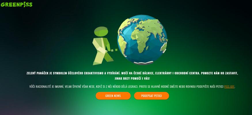 Agentury Olmer AdaTalk PRvlastní mj. doménu greenpiss, která dehonestuje ekologické aktivisty. Repro L. Hrábek