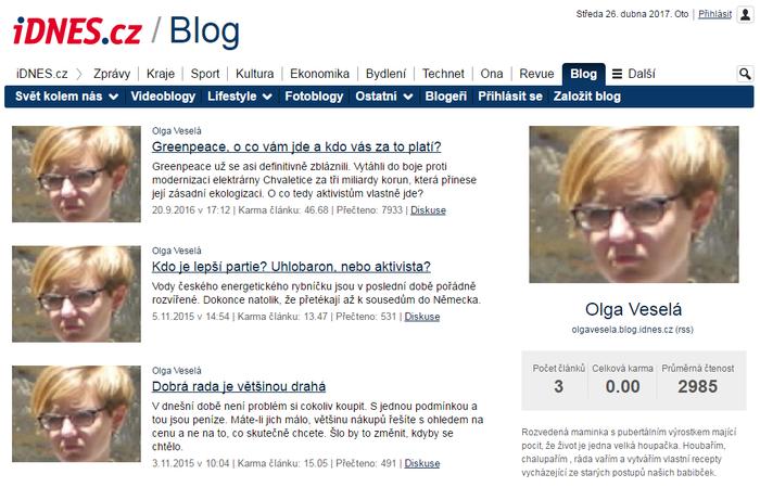 Postavy zfalešných profilů mají isvé blogy naiDnes.cz, jednom znejčtenějších českých portálů. Repro L. Hrábek