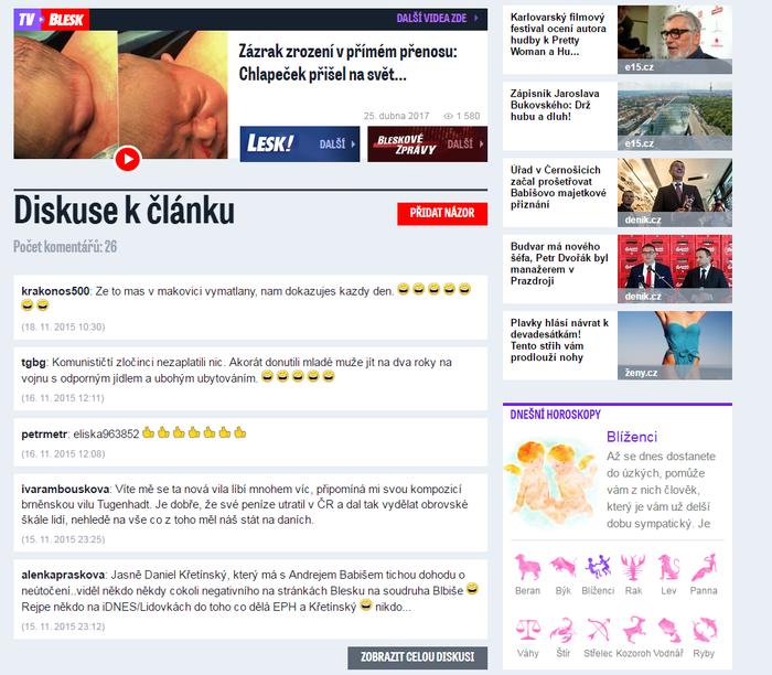 Falešné profily sezapojují dodiskusí apřidávají komentáře pod články týkající seenergetiky apodnikání P. Tykače. Repro L. Hrábek