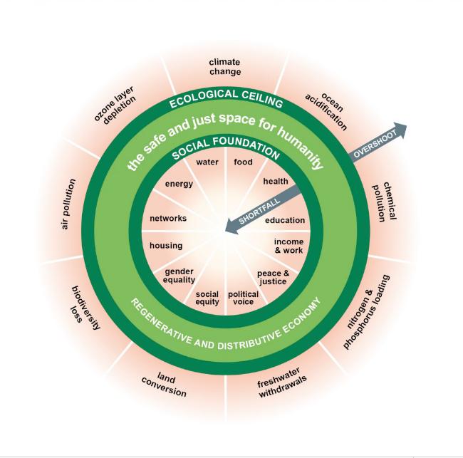 Ekonomika jako kobliha. Grafika Kate Raworthová aChristian Guthier/The Lancet Planetary Health