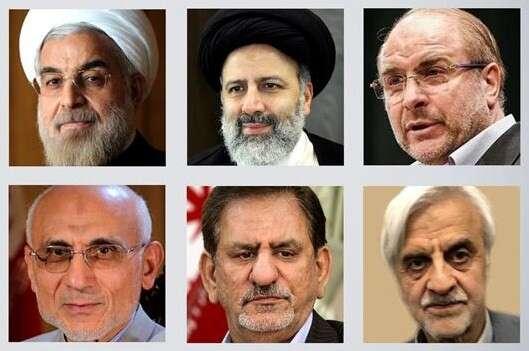 Letošní prezidentští kandidáti. Favority jsou Hassan Rouhání aEbrahim Raisí (první adruhý zleva nahoře). Repro zvysílání PressTV
