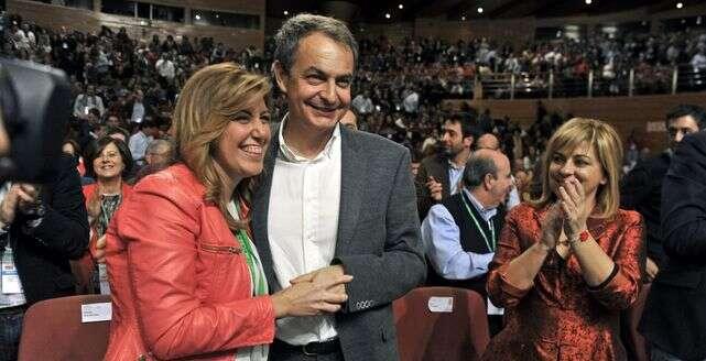Susana Díazová setěšila podpoře emeritních socialistických lídrů. Zde sexpremiérem Josém Luisem Zapaterem. Foto archiv EDC
