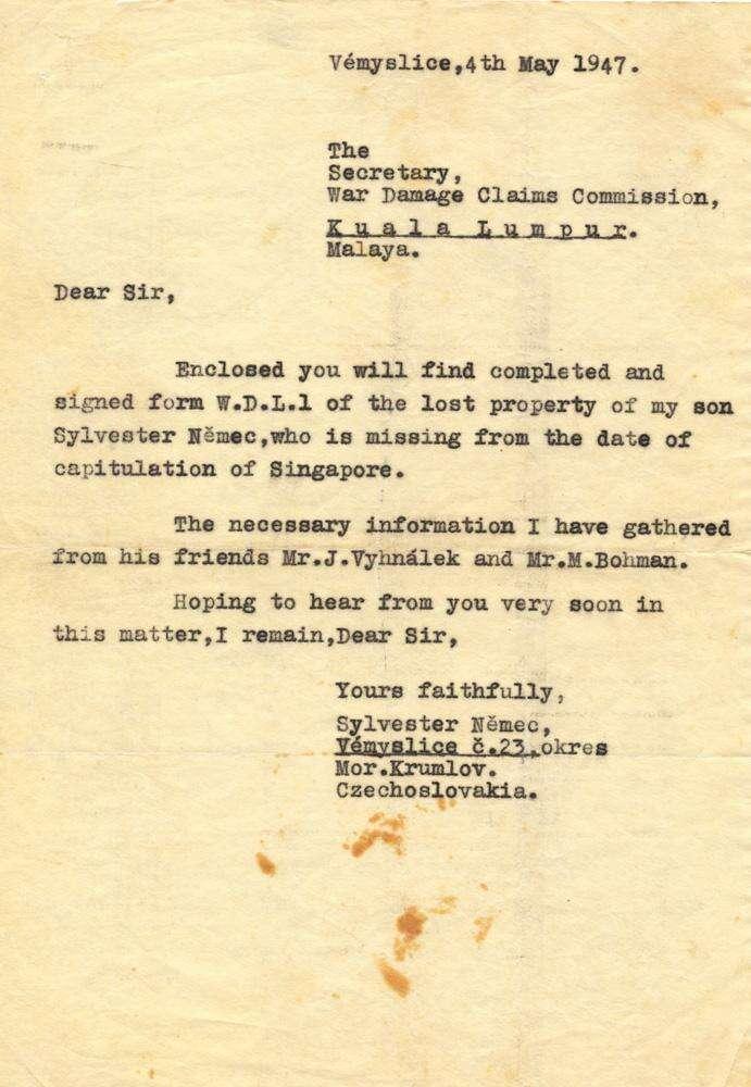 Žádost Silvestrovy rodiny oodškodné, adresované Komisi pro náhradu válečných škod vSingapuru. Repro Jan Beránek