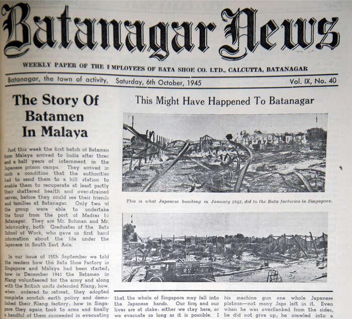 Titulní strana Batanagar News začínající pojednáním oúčasti Baťovců vbojích oSingapuru. Foto Jan Beránek