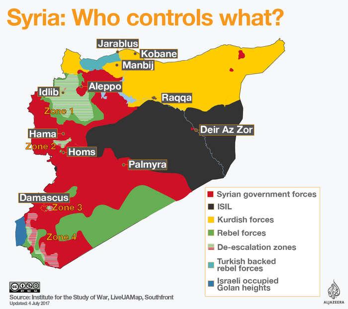 Srovnátím této grafiky televize Al-Džazíra zletošního června smapkou umístěnou výše vtextu silze udělat představu, kolik území ISIS bylo odléta dobyto. Pruhovaně zde také dohodnuté deeskalační zóny. Repro ISW/Al-Džazíra