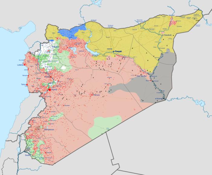 Současné rozložení vlivu vSýrii: růžovou asadovské síly, žlutou Kurdové, černou ISIS, zelenou ostatní povstalecké skupiny amodrou turecké jednotky. Repro DR/WmC