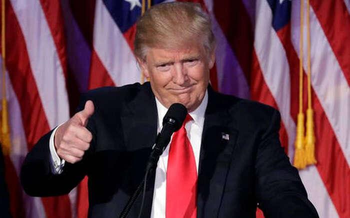 Donald Trump během svého projevu pooznámení výsledků voleb, 9. listopadu 2016. Repro ztelevizního vysílání