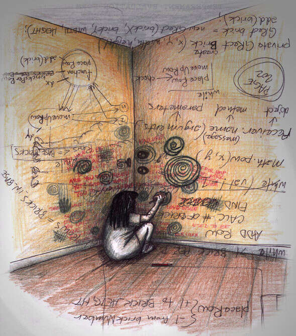 Krize uvolňuje včlověku tvůrčí síly, skryté vnitřní emoční bohatství aobrazotvornost. Ilustrace Jennifer Mathls