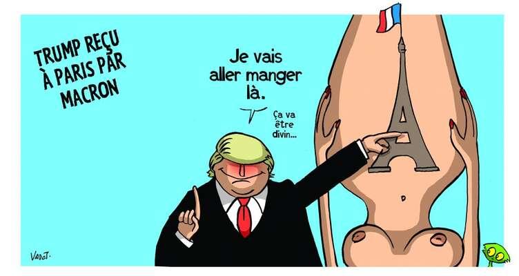 Kreslíř belgického časopisu L'Echo Nicolas Vadot nemá oTrumpově vztahu kEvropě aspeciálně kFrancii vůbec žádné iluze. Repro DR