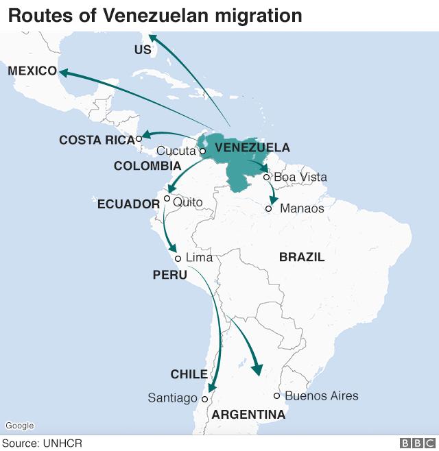 Hlavní trasy utečenců zVenezuely vrámci regionu. Infografika BBC