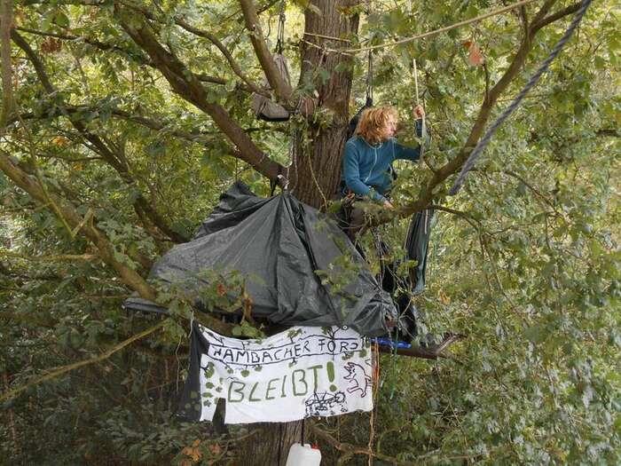 Již šestým rokem protestují vprůběhu sezony kácení vlese uHambachu desítky lidí. Nejodvážnější znich vzdorují izásahům policie, staví barikády, případně sepřivazují namísta, kde bude pro policii obtížné jesundat. Foto eichhörnchen.fr