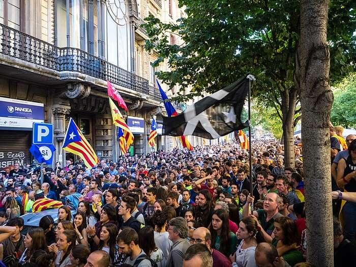 Jen vBarceloně dosáhl vroce 2017 počet protestujících jednoho milionu. Foto Marius Monton