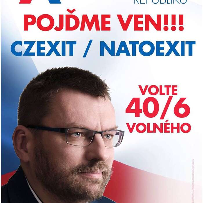 Lubomír Volný seasi zapomněl omottu pro kampaň poradit slídryní své kandidátky Klárou Samkovou, která narozdíl odněj unii opustit nechce, mluví pouze ojejí reformě. Foto FBLubomír Volný