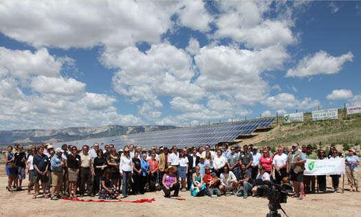 Jedna zutopií, která sestala realitou: komunitní solární elektrárna Garfield County, Colorado funguje odroku 2011.
