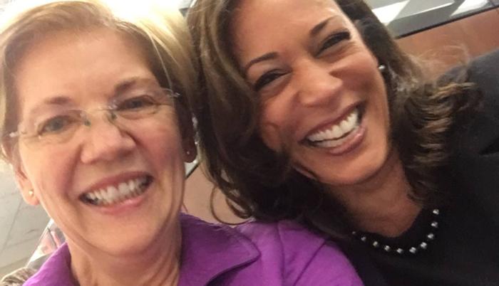 Elizabeth Warrenová (vlevo) aKamala Harrisová. Foto Twitter KH