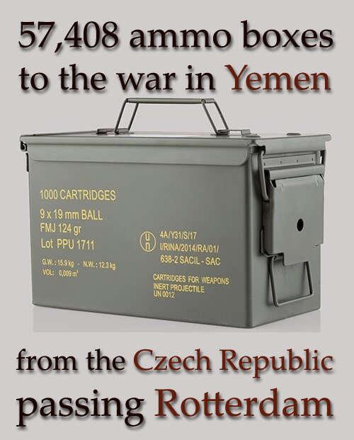 57 408 krabic smunicí pro válku vJemenu zČeské republiky přes Rotterdam. Grafika Martin Broek