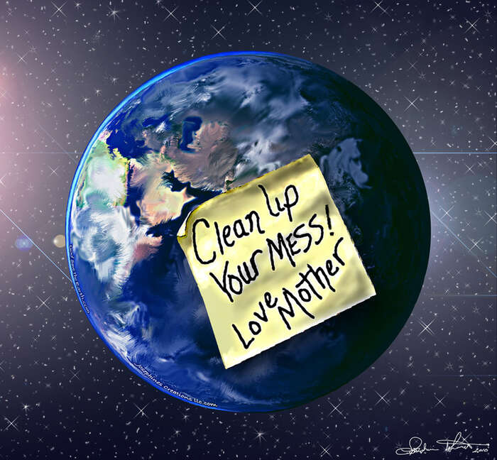 Pozemskost či Gaia sedala dopohybu amá pro nás vzkaz. Malba josephine101. Repro DR