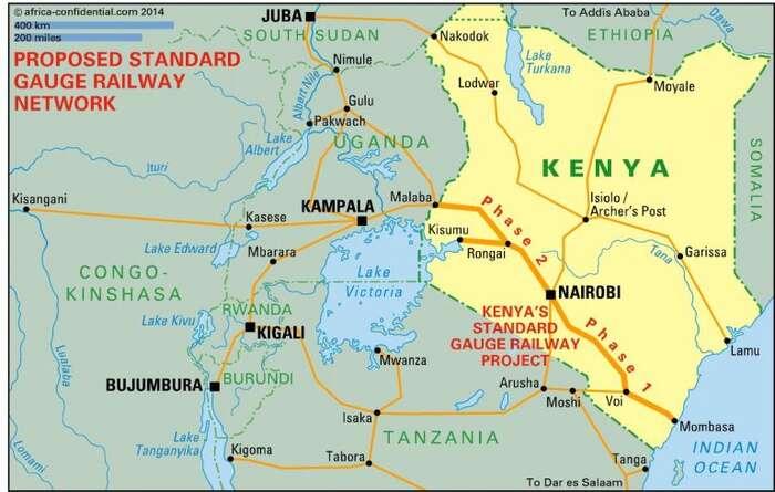 Výstavba keňské části železnice byla rozplánována nadvě fáze. Každá znich má krom společných isvoje vlastní problémy. Grafika Innov8tiv.com