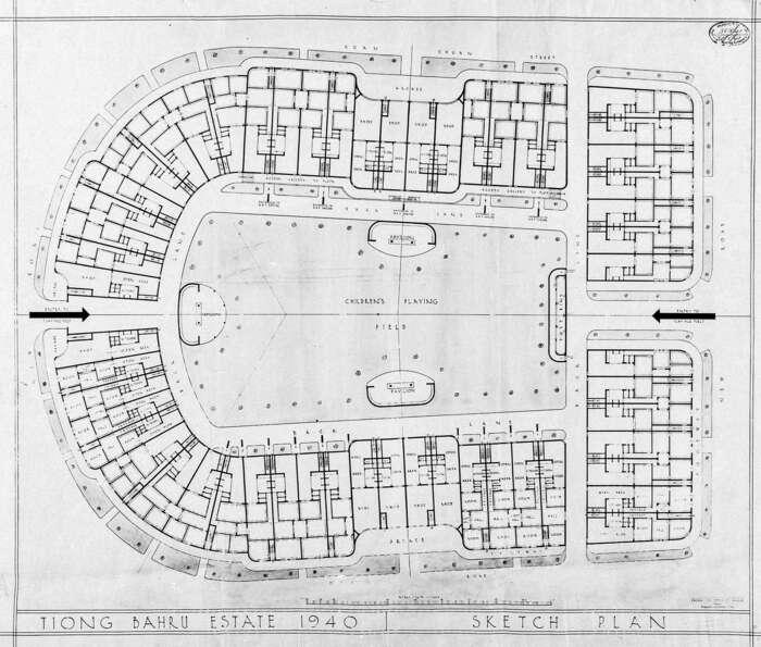 Schéma bytového komplexu Tiong Bahru. Blok bytů číslo 10, kde nakonci roku 1941 bydleli Silvestr aRudolf Janeček (a nejspíš iPavel Ambrož), jevpravo, třetí shora. Foto Archiv Jana Beránka