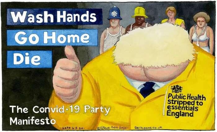 Konzervavirový stranický program: Umyjte siruce. Jděte domů. Umřete. Kresba Steve Bell, Guardian