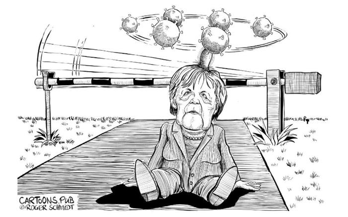 Přístup Angely Merkelové nyní mnozí pokládají zapříliš laxní. Kresba Roger Schmidt, Cartoons Pub