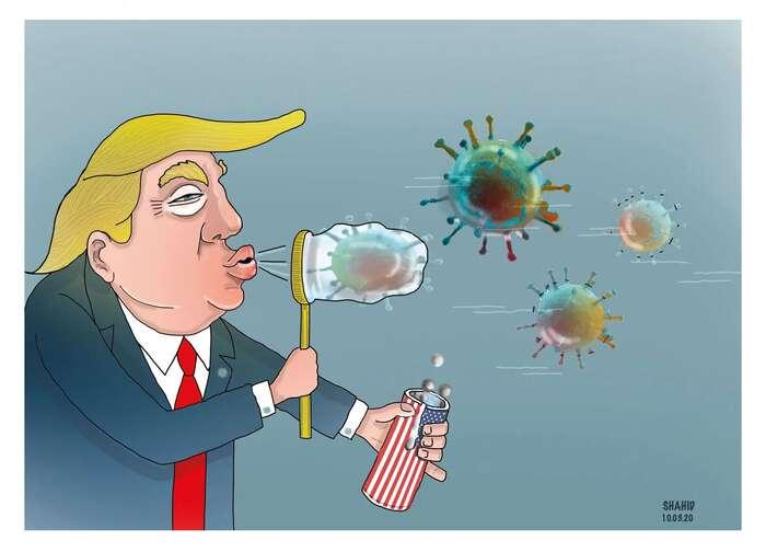 Nikdo zesvětových státníků není tak vděčným námětem pro satiru jako Donald Trump. Kresba Shahid