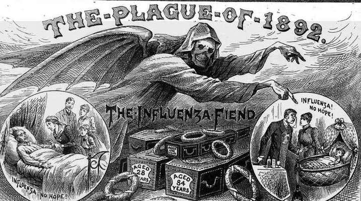 Evropská epidemie chřipky vroce 1890 vyřadila třetinu zaměstnanců ainspirovala rozsáhlá opatření voblasti politiky veřejného zdraví. Repro DR